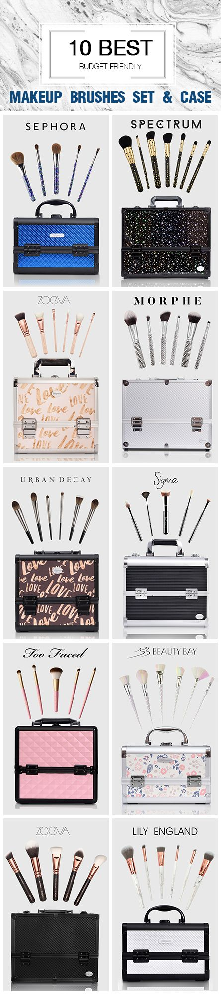 10 Best Budget-friendly Makeup Brushes Sets & Cases 2018 Professional Sigma brush set, Too Faced brush set, Zoeva brush set, Real Technique brush set, Beauty Bay brush set, Sephora brush set, Morphe brush set, Urban Decay brush set. Lily England