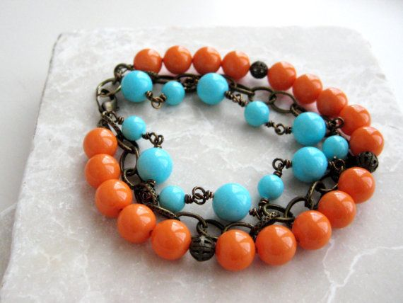 Mother of Pearl Bracelet Coral Turquoise by BeadBashStudio on Etsy