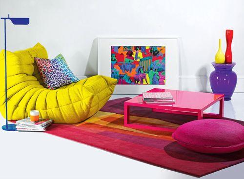 Togo chair, Tab lamp, Kartell stool, Sonya Winner rug.