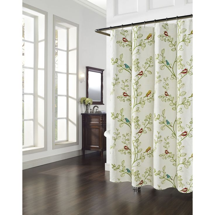 Aviary Floral Bird Pattern Shower Curtain