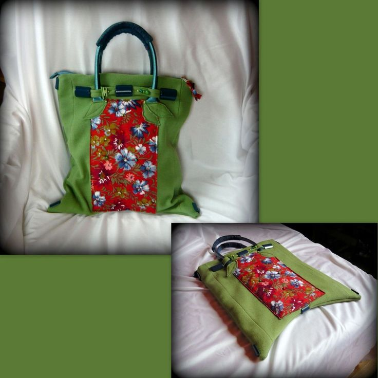 zöld-piros virágos táska-handmade by Judy Majoros