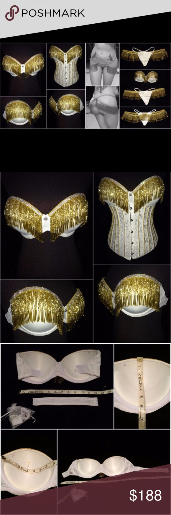"""White Gold Beaded Fringe Crystal Bra and Thong Set Size 36D  please see picture for measurements.  Features clasps on both sides for easy removal. Also comes with removable halter style strap both clear and white as well as a clear attachment for the back piece.  Thong  Features a clasp on the front of either side to attach the fringe.  Size sm/med  The actual thong measures about 7"""" along the top, 7"""" down the center. The side straps on either side are about 8.5"""" and stretch to about 17""""…"""