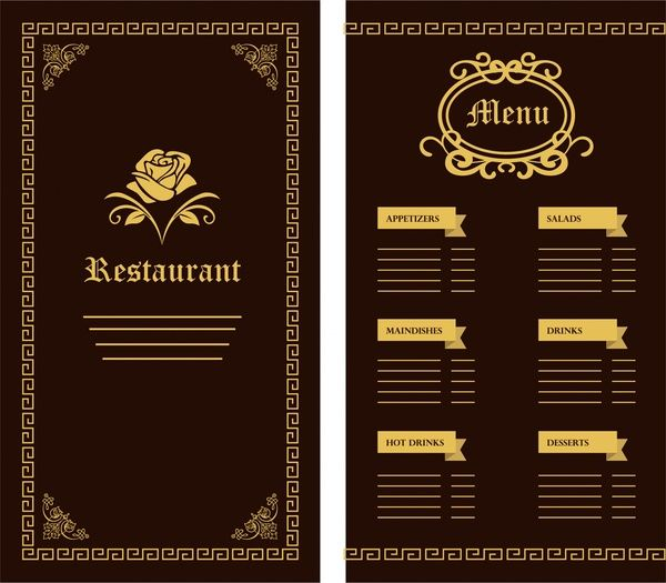 restaurant menu template flower classical dark