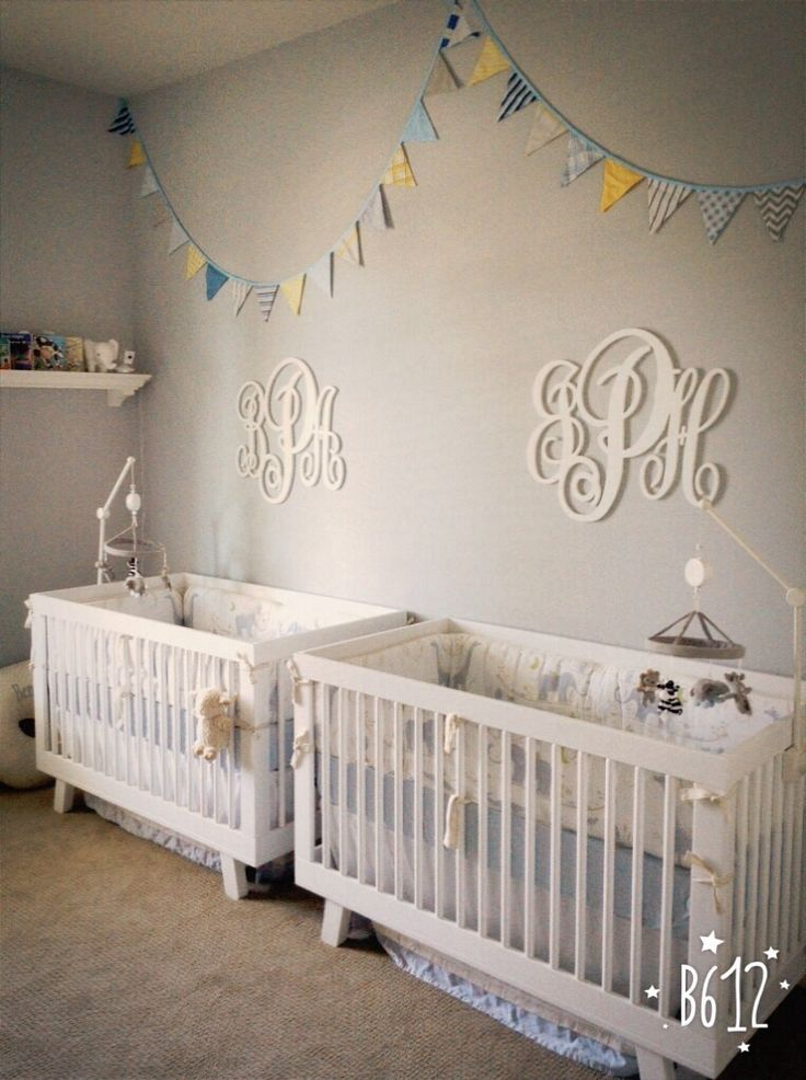 Twin Baby Boys Custom Bunting Banner Nursery Decoration