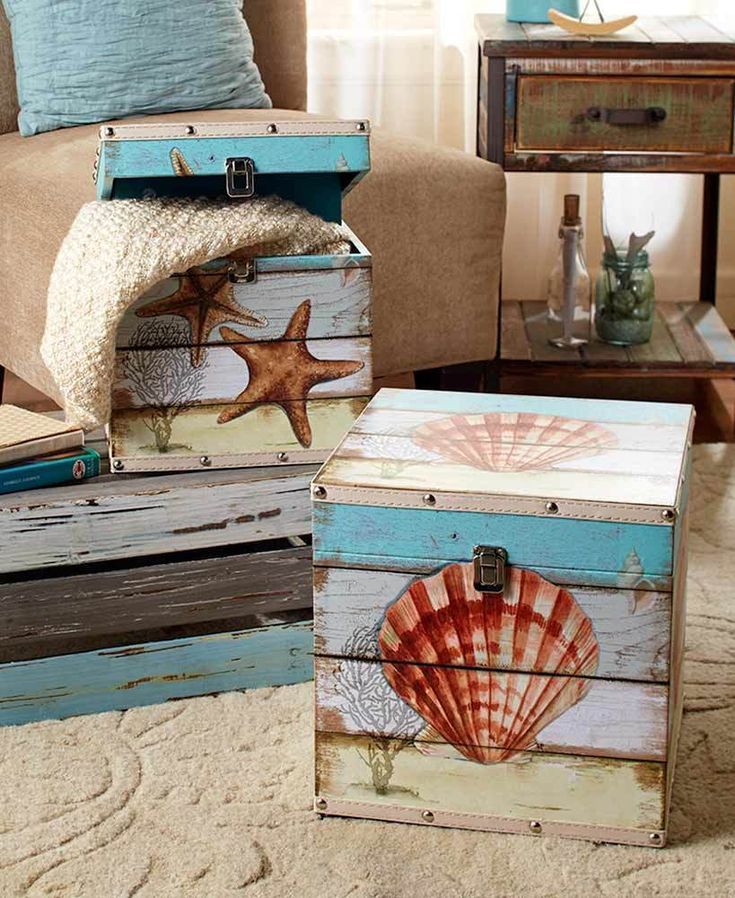 COASTAL SET OF 2 DECORATIVE STORAGE TRUNKS SEASHELL BEACH OCEAN HOME DECOR #AFoYFT