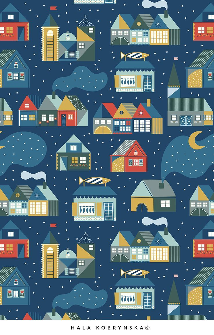 Seamless Pattern With Scandinavian House By Night Cozyhousewinter House Night Pattern Scandinavian Cozy House Scandinavian Folk Art Scandinavian Home