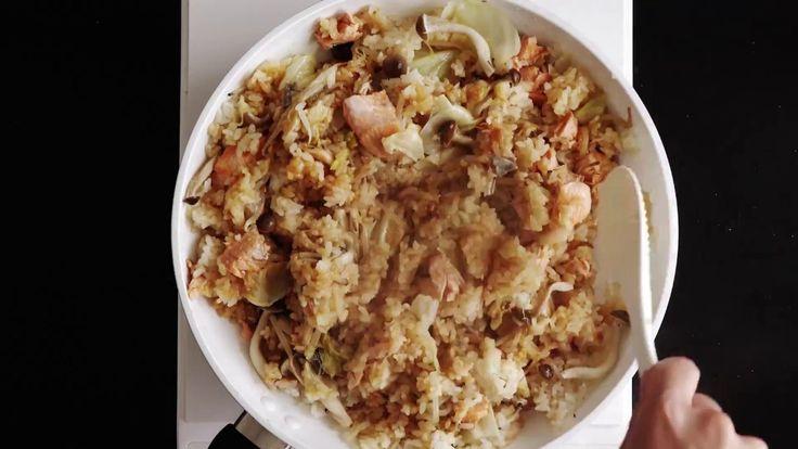 一鍋食譜:味噌鮭魚野菇炊飯【ほくほくの秋味】鮭のちゃんちゃん♪炊き込みご飯