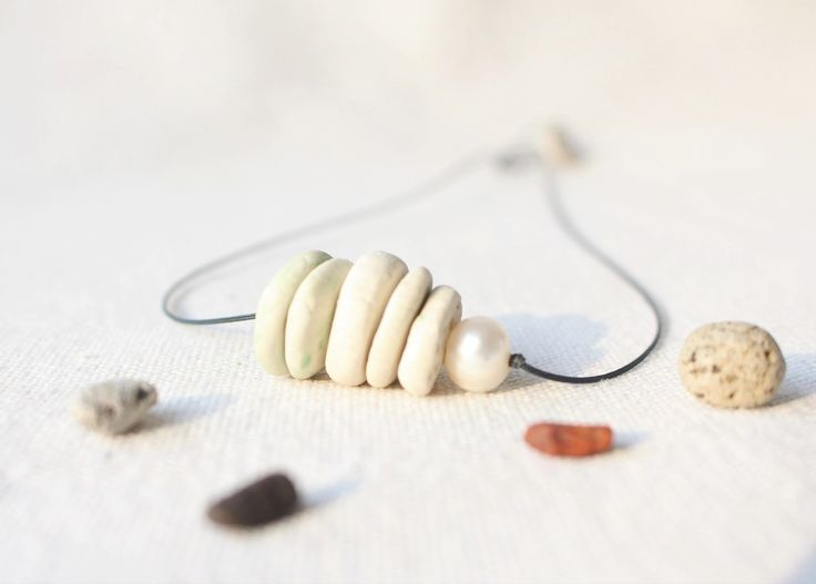 Stacked stone necklace with a pearl