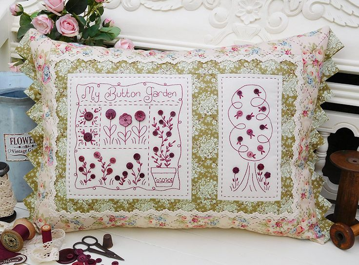 """""""My Button Garden""""  by Sally Giblin of The Rivendale Collection. #TheRivendaleCollection stitchery, appliqué and patchwork patterns. www.therivendalecollection.com.au"""