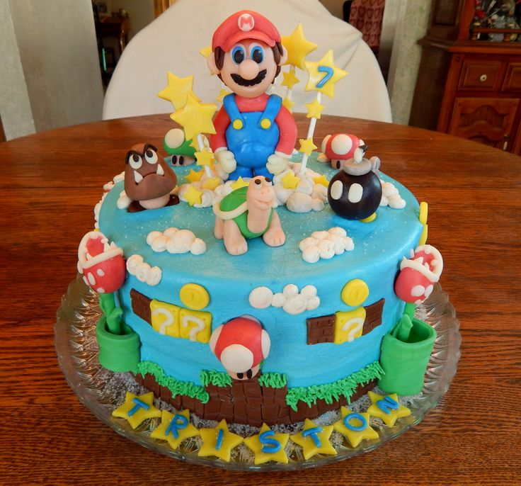 Mario Cake For Triston! This Cake Was So Much Fun To Do, I