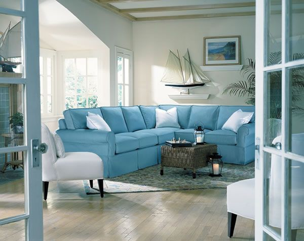 What do you think about the sectional like the boat for Beach house living room ideas