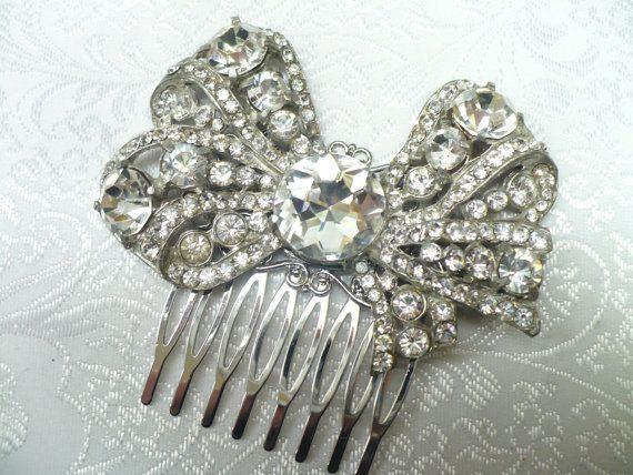 Vintage Bridal Hair Comb  Art deco bow motif  by ElegantiTesori, $149.99
