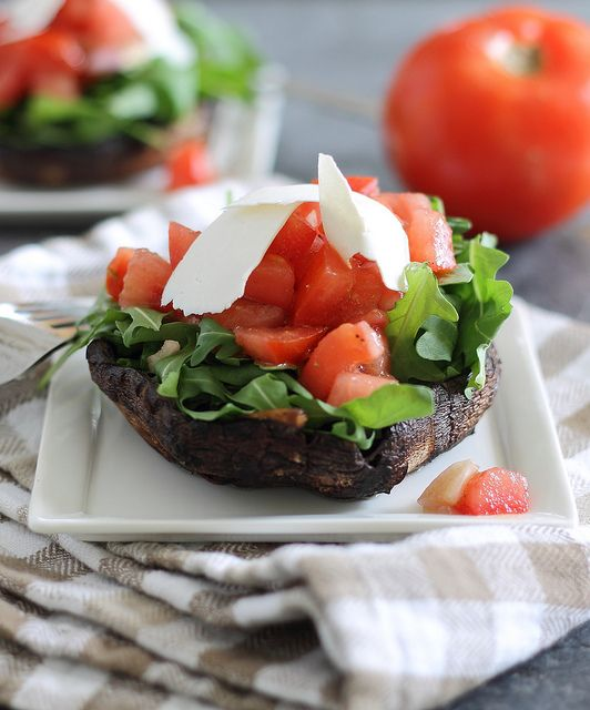 Tomato, Arugula & Ricotta Salata Stuffed Portobellos