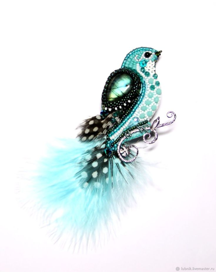 """Купить Брошь""""Птичка бирюзовая"""" - Вышивка бисером, бирюзовый, миниатюра, подарок, птичка, бисер японский, перья"""