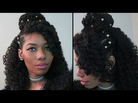 You can set your hair with bantu knots or rollers the night before and take out in the morning for the wavy romantic look. Take a bobby pin and sweep over the hair in the back and secure. Take a bobby pin and sweep over the hair in the back and secure.