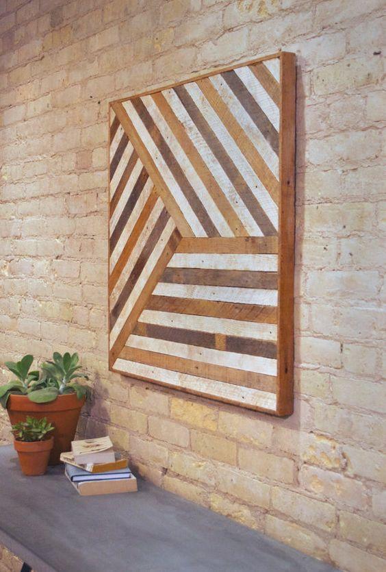 Reclaimed Wood Wall Art, Mixed Banner, Pattern, Geometric