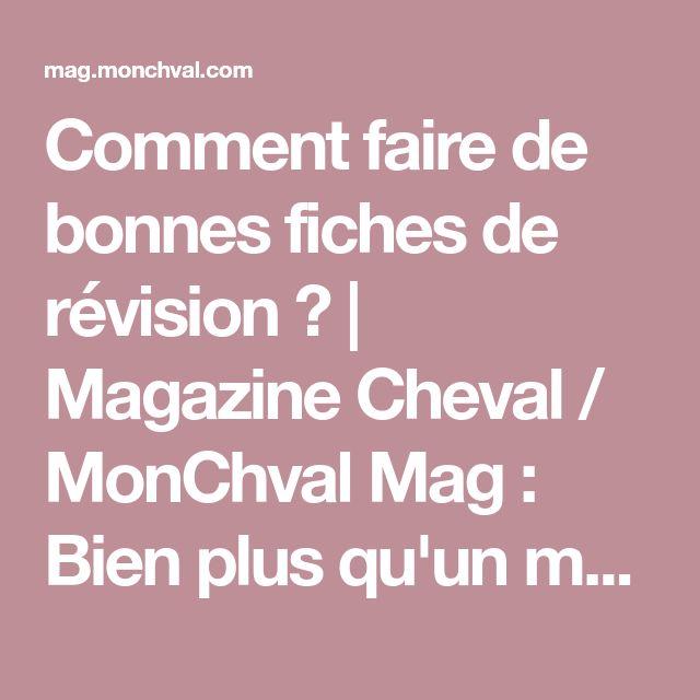 Comment faire de bonnes fiches de révision ?   Magazine Cheval / MonChval Mag : Bien plus qu'un magazine sur le cheval et l'équitation !