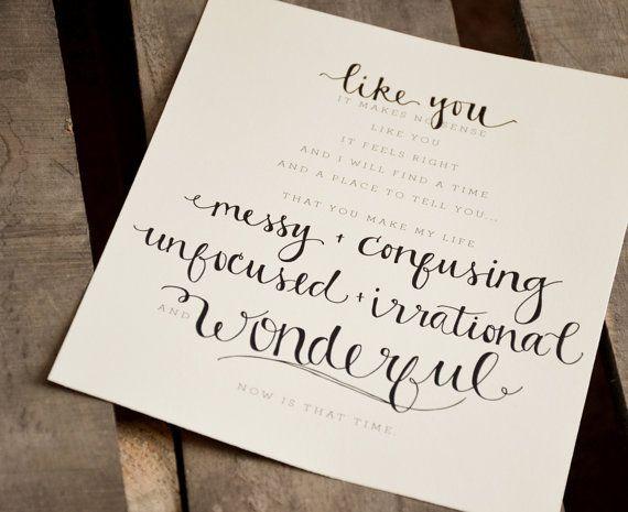 Custom Personalized Wedding Vows Lyrics Art Print Or Printable