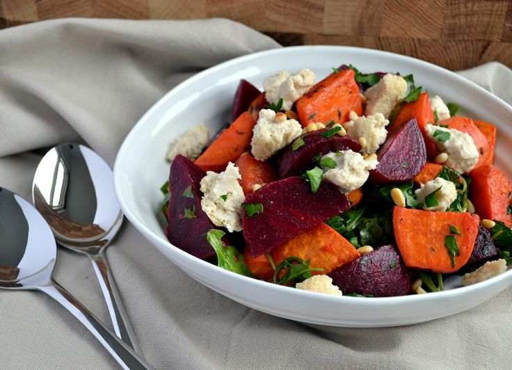 Beetroot & Sweet Potato Salad with Baked Cashew Cheese (made with Pollys vinaigrette from My Beef with Meat and added garbanzo beans, cheese is really good and easy to make)