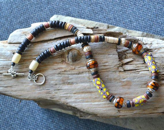 Antiguo collar africano de Millefiore mosaico por LKArtChic en Etsy