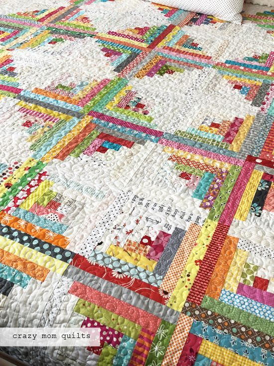 a traditional log cabin quilt-complete!!! (crazy mom quilts)