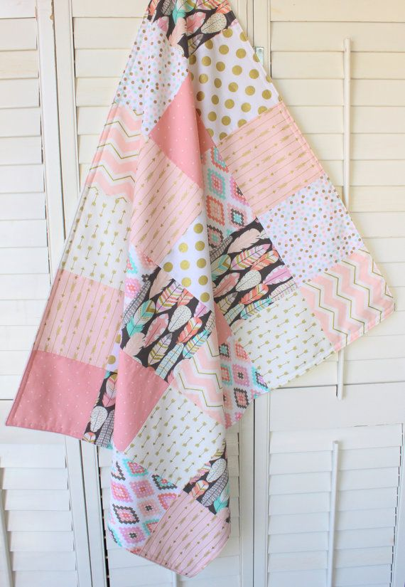 Baby Girl Blanket, Minky Blanket, Coral Crib Bedding, Coral Pink, Blush Pink, Mint Green, Gray, Gold, Aztec Nursery, Tribal Nursery, Feather