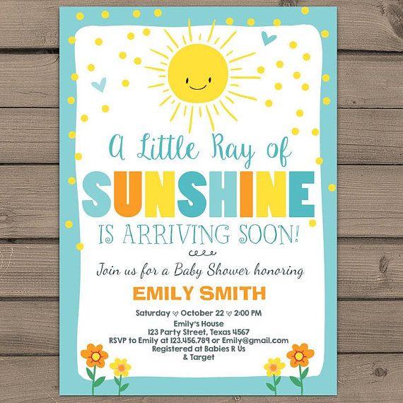 Baby Shower Invitation Little Sunshine
