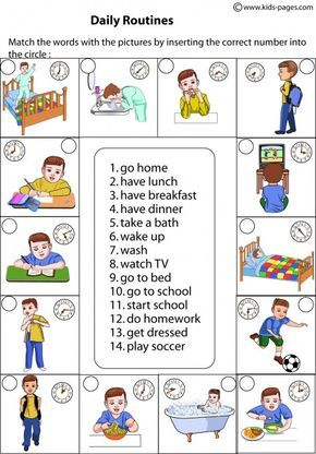 Daily Routines Matching worksheets