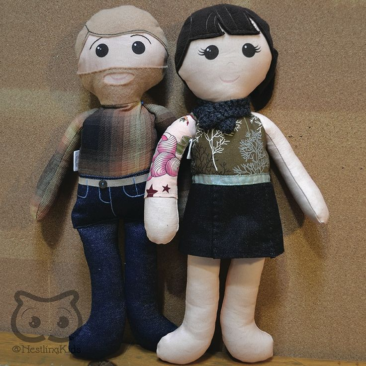 """Custom Doll Family: Adult Couple cloth dolls, selfie custom personalized ragdoll, keepsake doll - My specialty is making custom keepsake dolls to your specifications. Each of my dolls starts out with a basic pattern, but the details are entirely up to you! This listing is for a custom keepsake doll family including 2 adults (approx. 18"""" tall)."""