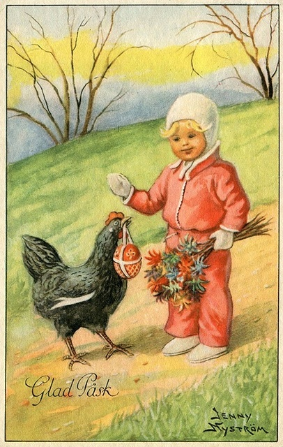 vintage Swedish Easter postcard, Jenny Nyström