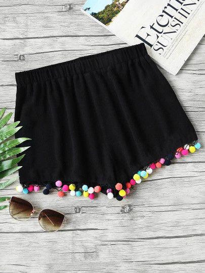 Shorts con cintura elástica y ribete de pompones