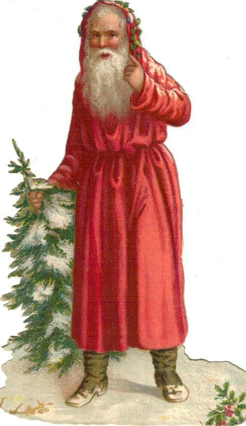 Victorian Scrap Santa & Christmas Tree Die Cut c1880