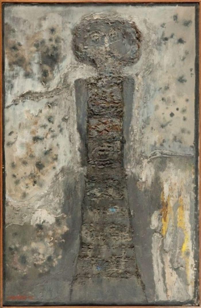 Jan Lebenstein - Figure dans un interieur gris, 1956 r.