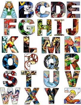 Superhero Alphabet Letters- Comics Superhero Alphabet Letters- Comics Perfect for a superhero classroom. I love that there is a different superhero comic for each letter of the alphabet! Students will love trying to name each hero.