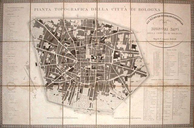 """ANGELO COMASTRI  """"Pianta topografica della città di Bologna""""  Bologna, 1822"""