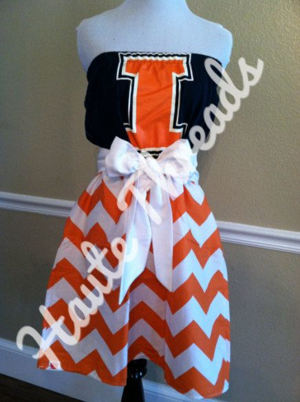 Illinois Fighting Illini Football College gameday dress by hautethreadsboutique, $70.00