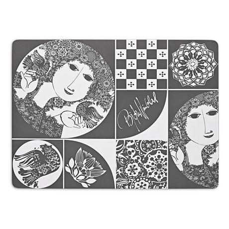 Set the table with motifs and artistic mosaics using refined, dark-grey table mats from Bjørn Wiinblad. #bjørnwiinblad