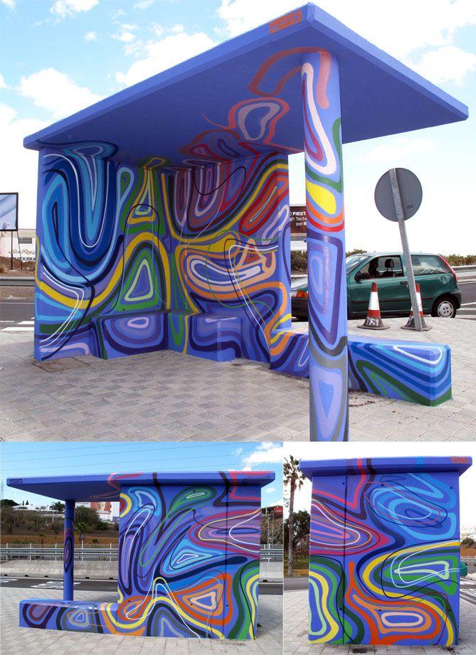 proyecto graffiti mural 18 marquesinas para Traysesa Tenerife 2012