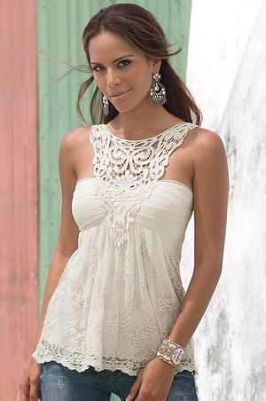 Crochet & lace top - This is just too beautiful! I need something like this, just in a darker color that my fair skin can pull off!
