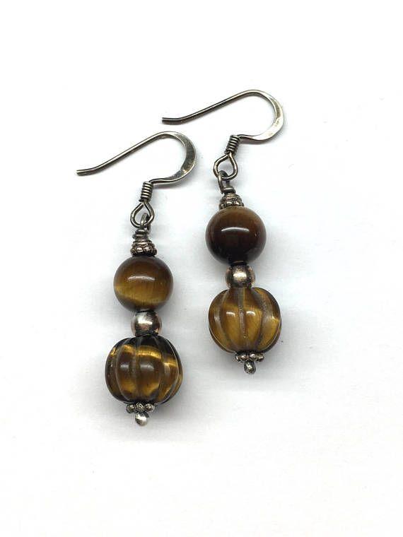Tiger Eye Earrings Brown Earrings Oxidized Sterling Silver