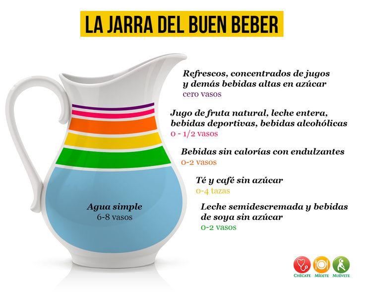 """La """"Jarra del buen beber"""" es una guía, en ella se ilustran las recomendaciones de bebidas saludables. Esta jarra cuenta con 6 niveles que representan las proporciones recomendadas durante todo el día. Cabe destacar que cuando hablamos de 1 vaso nos referimos a 240 ml."""