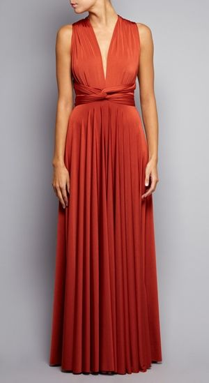 TWOBIRDS Long Jersey Blend Wrap Dress In Burnt Orange RRP £250