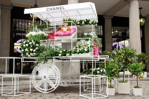 An interesting ploy by Chanel to create awareness of its perfumes - opening up flower stands in the UK for Mother's day, featuring flowers that are found in its fragrances.