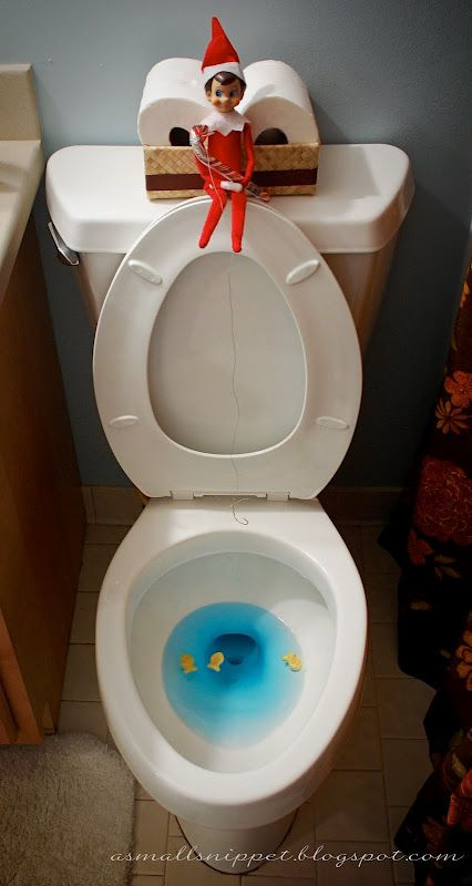 tons of clever elf on the shelf tricks. I need new ideas when our elf visits from Thanksgiving to Christmas: Toilets Seats, Cute Ideas, Shelves, Christmas, Holidays, Kids, Shelf Ideas, Elf Fish, Elf On The Shelf