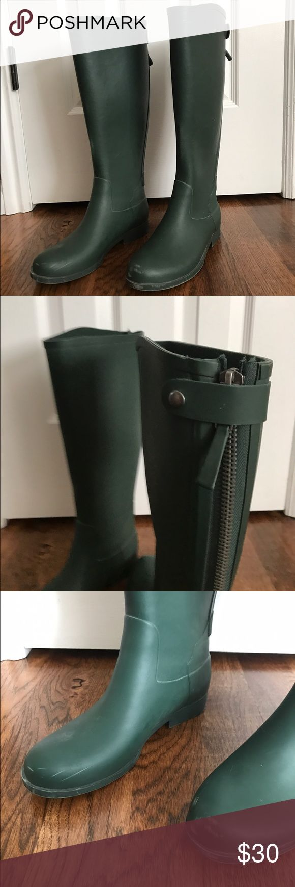 J. Crew Weatherby Hunter Green Rain Boots The beautiful sold out style of dark green weatherby boots. Only worn once or twice for short periods of time. A few small scuffs that can be buffed out according to Hunter boots polishing instructions. J. Crew Shoes Winter & Rain Boots
