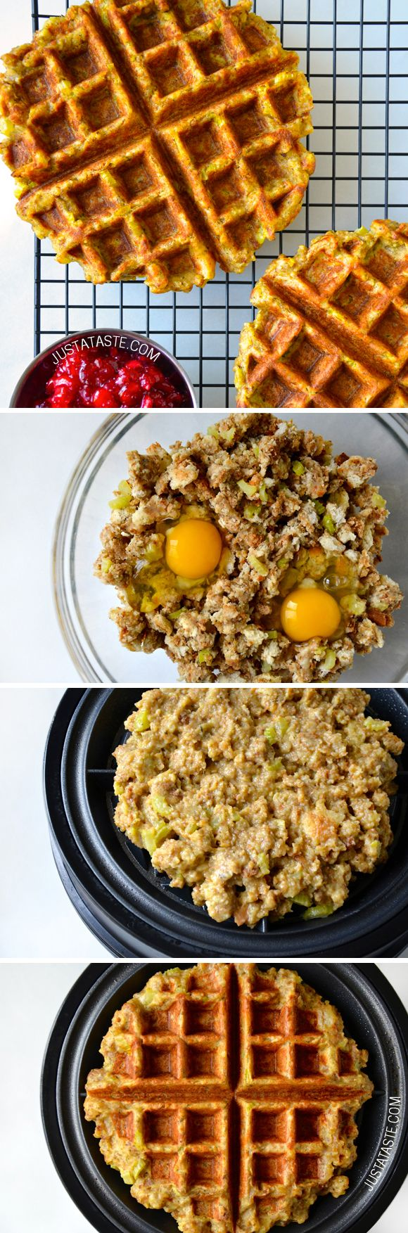 Leftover Stuffing Waffles #recipe from justataste.com:
