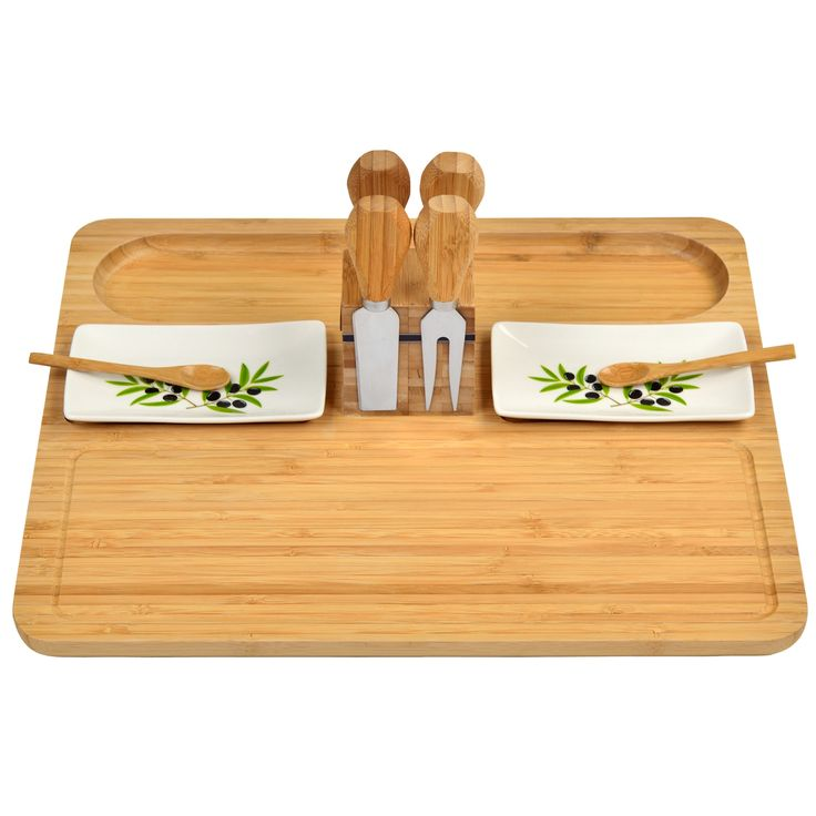 Sherborne Bamboo Cheese Board Set w/Dishes