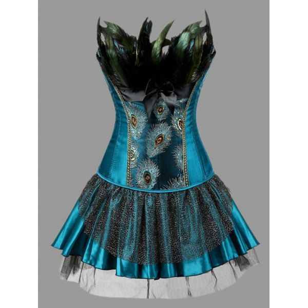 Plus Size Two Piece Corset Dress with Feather