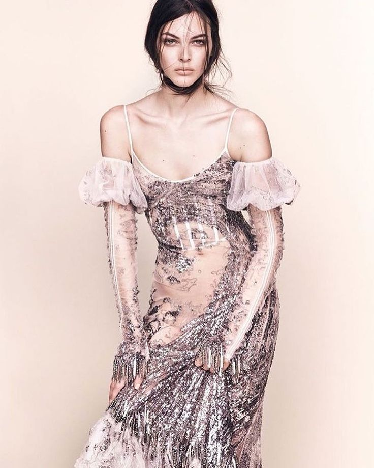 McQueen S/S17 silver wave sequin embroidered dress