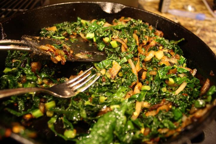 Sauteed Kale w/ Caramelized Onions |